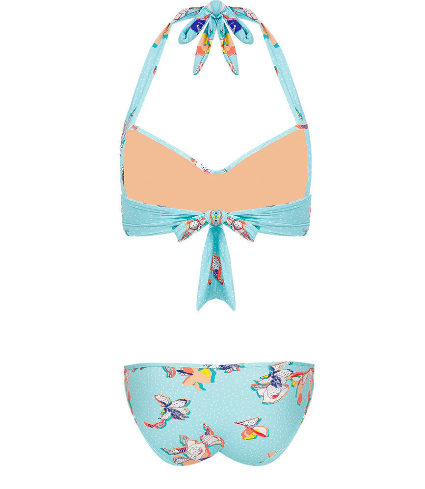 Illustrated Fantasy tie front halter top with fixed cups aqua