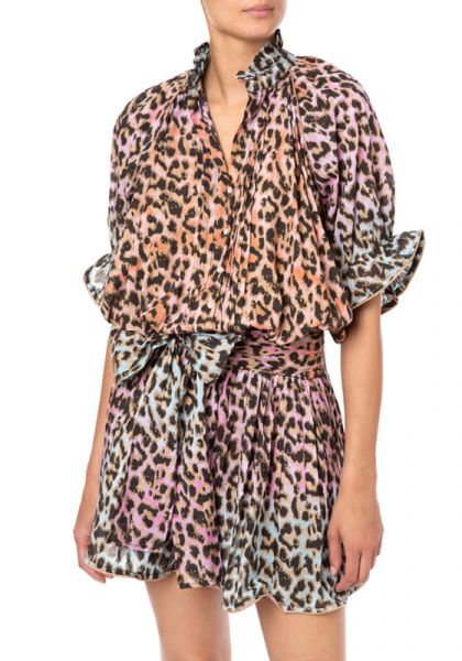 Tie Dye Leopard Print Blouson Dress
