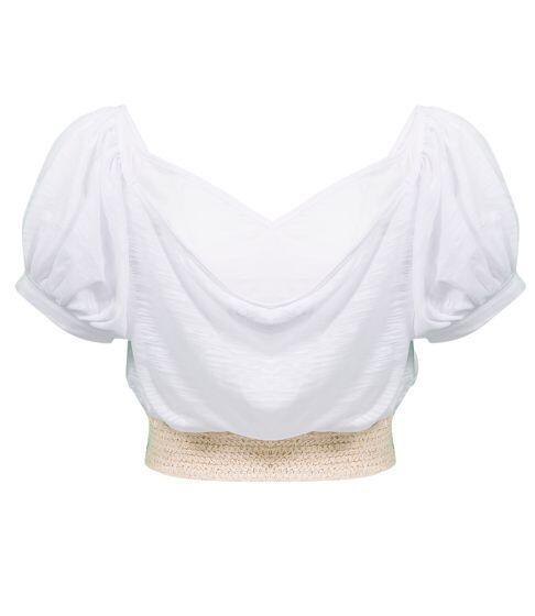 Pitusa Crochet Crop Top White