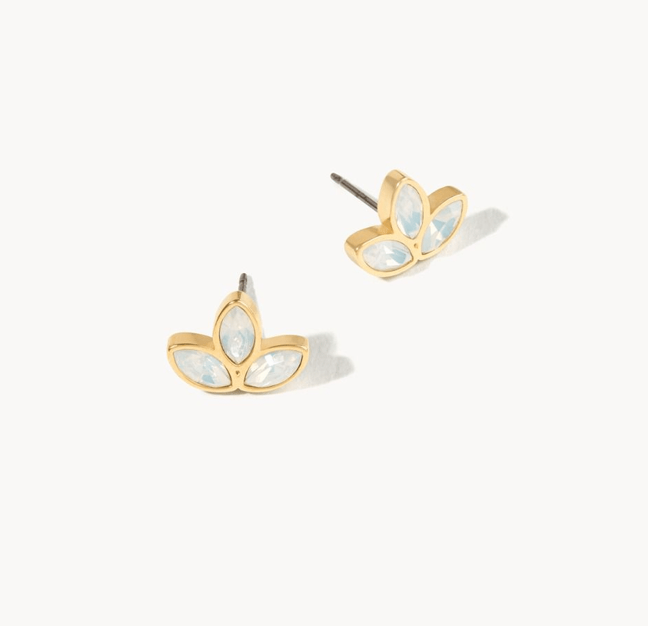 Delicate Leaf Stud Earrings White Opal