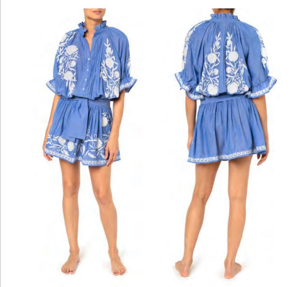 Chambray Blouson Dress With Cream Flower Embroidery Blue/Cream
