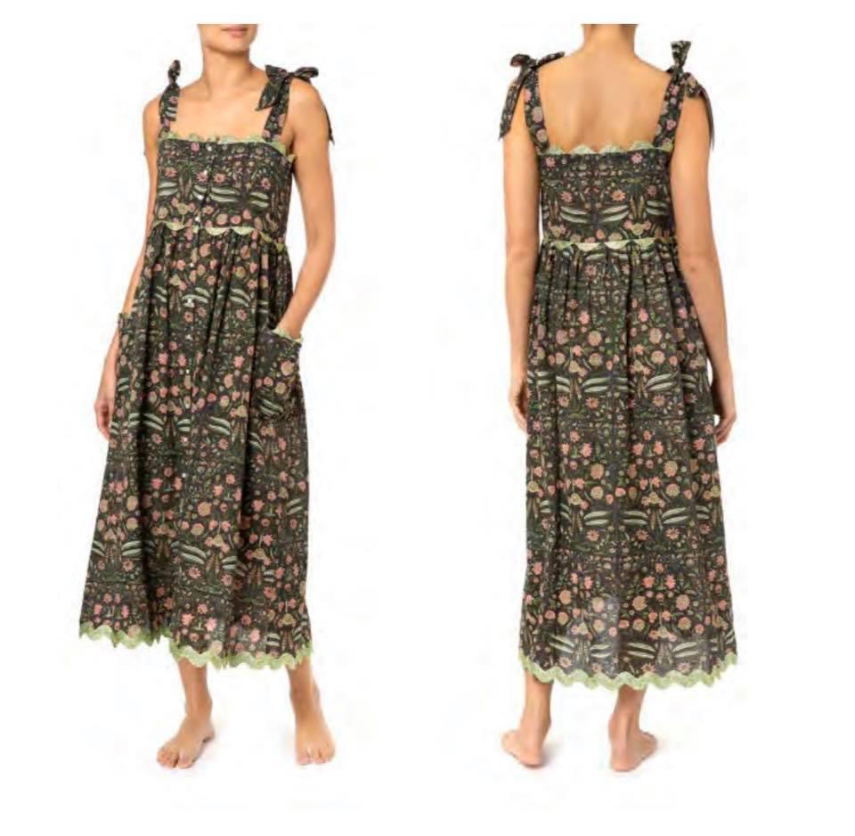 Temple Flower Print Tie Shoulder Dress With Trim Black/Pistacio