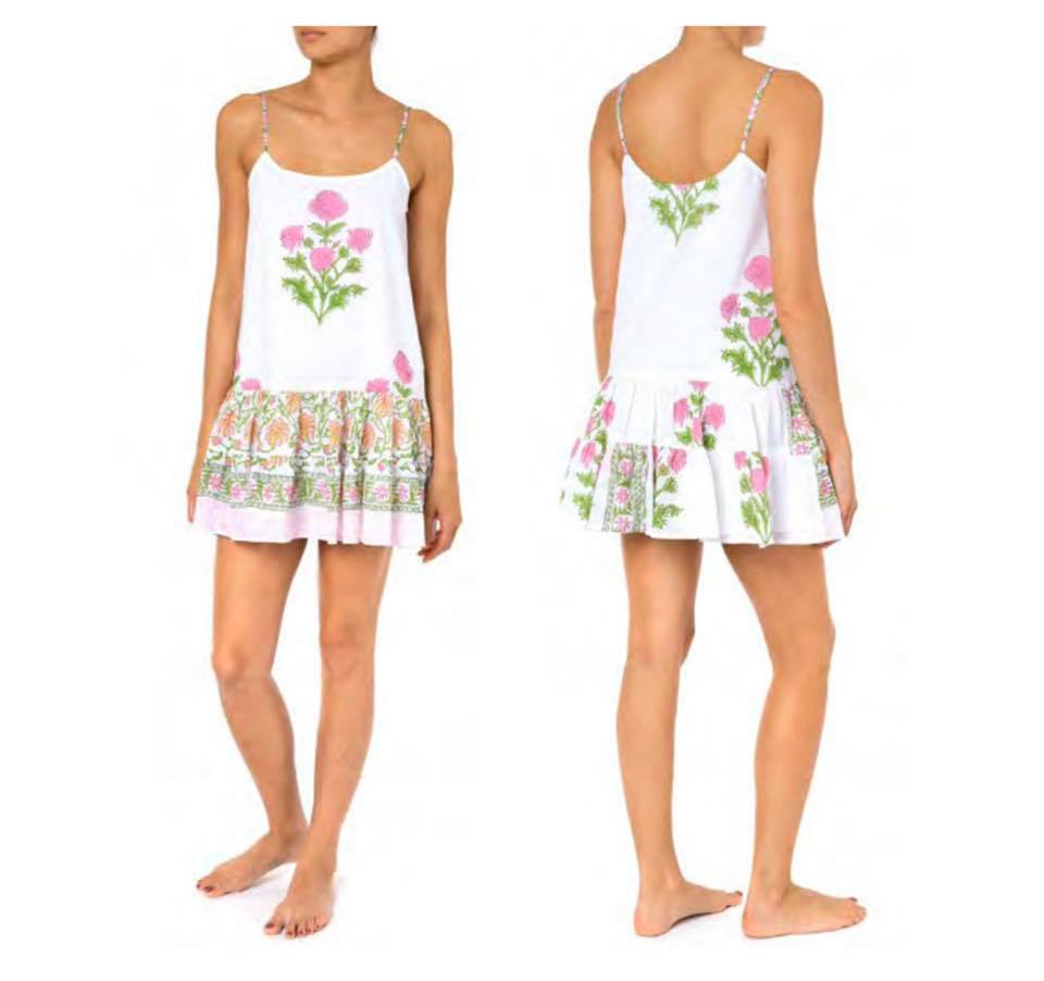 Cami Dress With Poppy Block Print-Lined White/Pink Neon