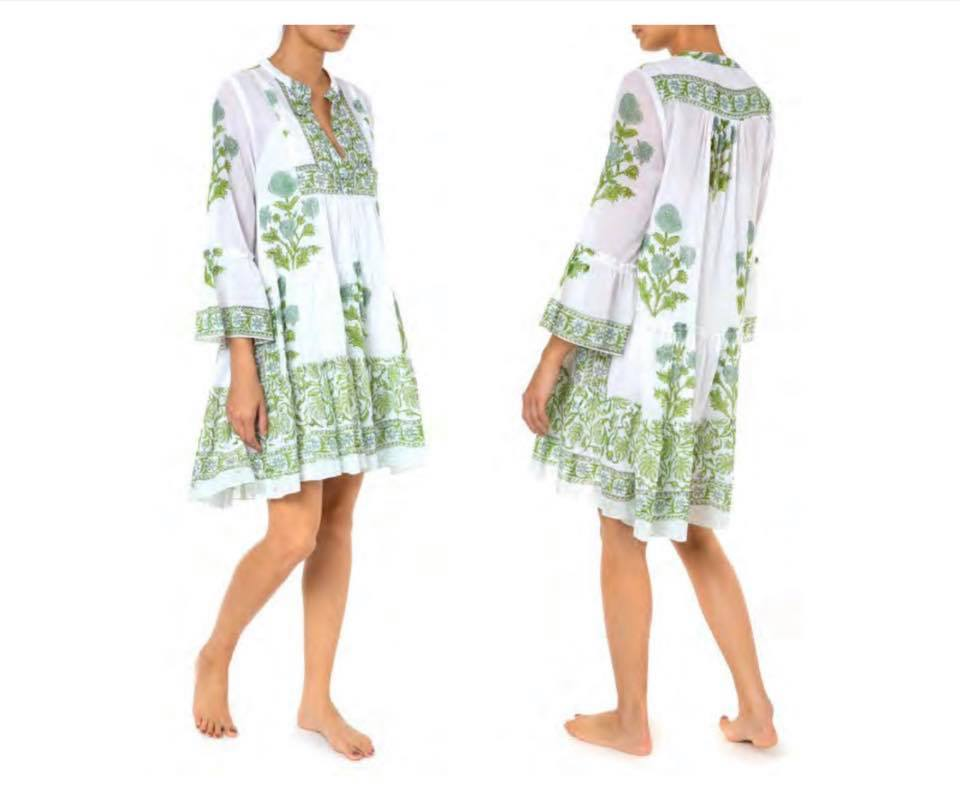 Flared Sleeve Dress With Poppy Block Print & Slip White/Mint