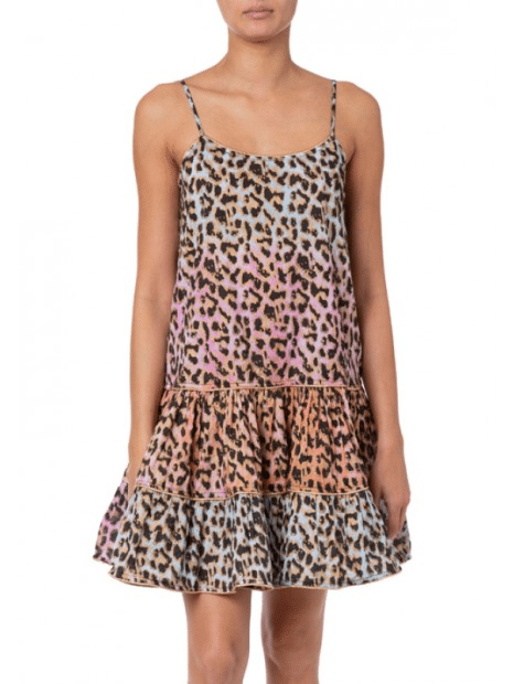 Tie Dye Leopard Print Strappy Dress With Lurex Piping Turq/Pink/Peach