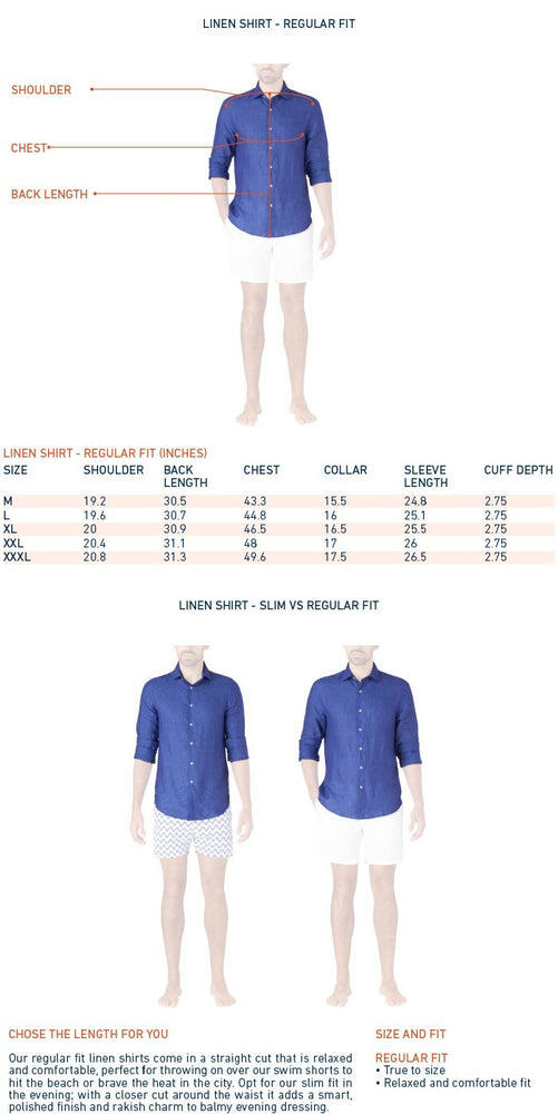 size chart for long sleeve linen shirts