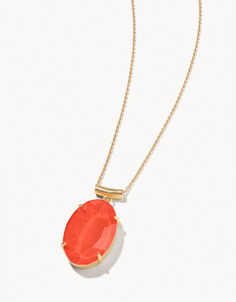 """Mermaid Glass Oval Slide Necklace 28"""" Coral"""