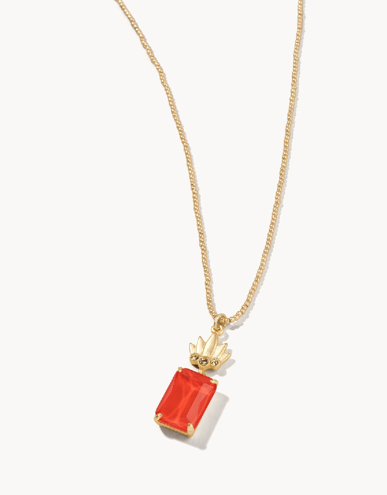 MG Pineapple bitty necklace 17coral
