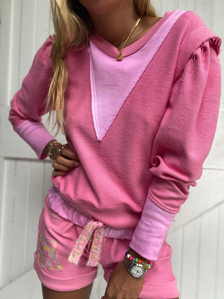 Grier Pullover Party Pink Hand Dye