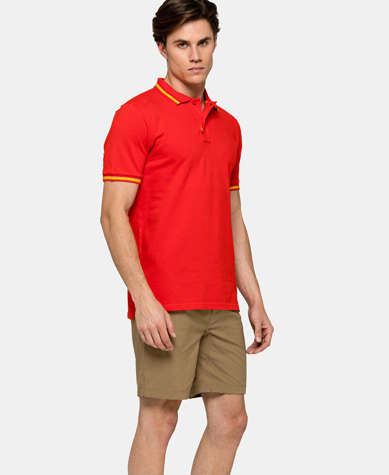 man wearing a red polo shirt for men