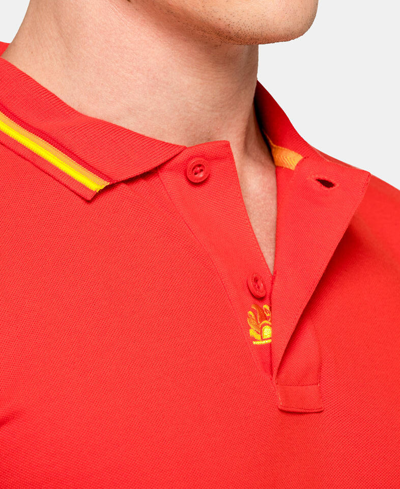 man wearing a cotton polo shirt in red