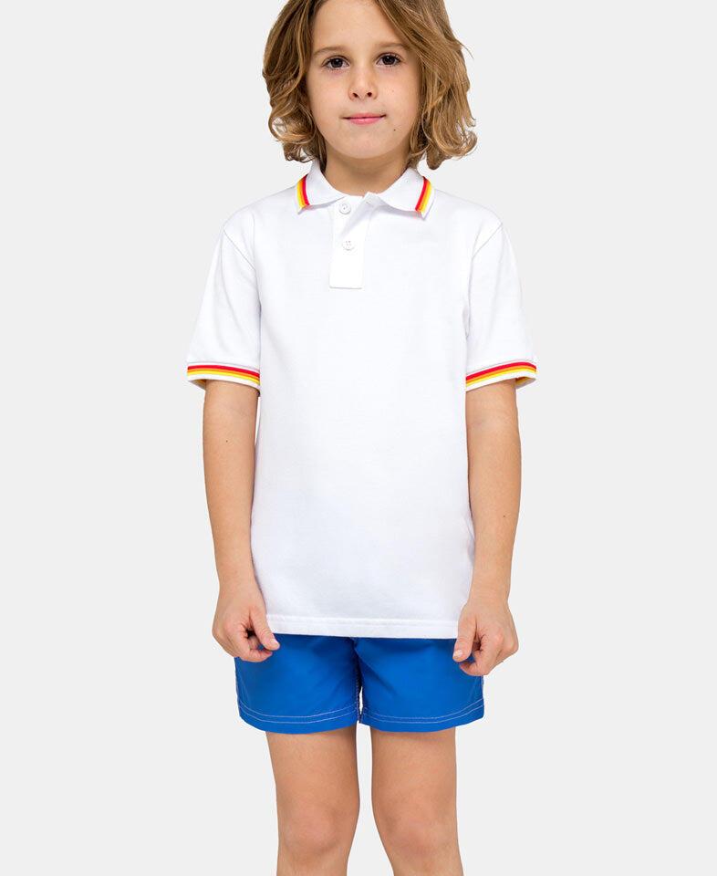 kid wearing a white polo shirt