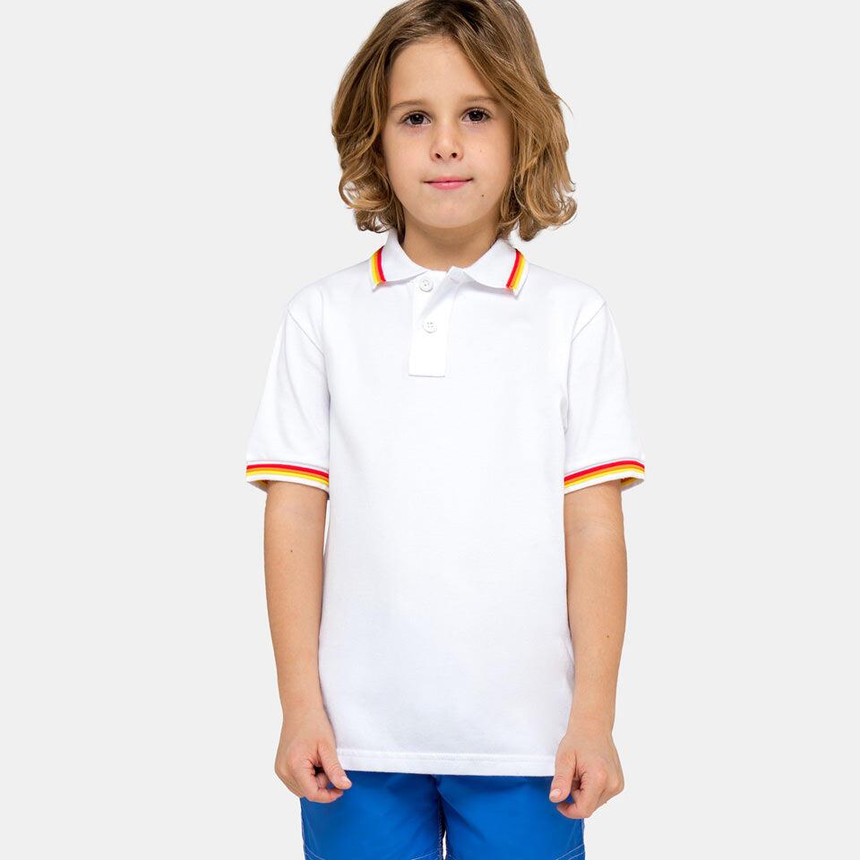 boy wearing a white polo shirt