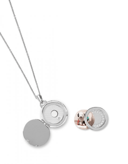 "Round Locket Necklace 32"" Pearlescent Silver"