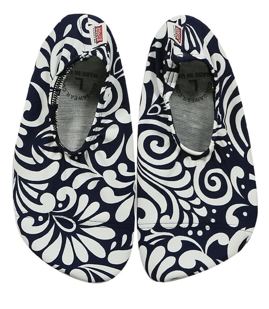 Coega Navy Flower Print Pool and Beach Shoes