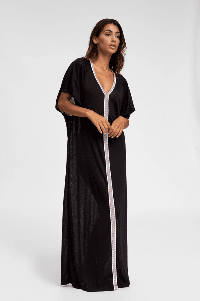 Inca Abaya Black W/ White