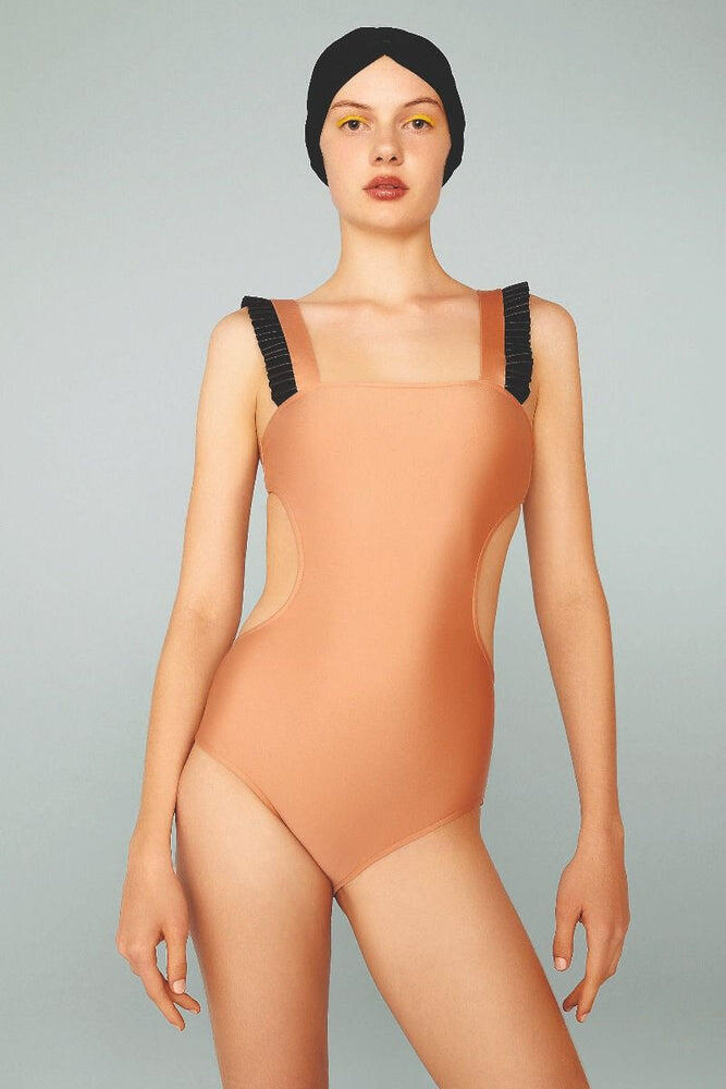 Adriana Degreas Cut Out Swimsuit with Faux Leather Detail Black