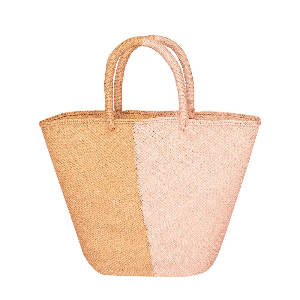 Capri Small Straw Two-Tone Tote Small Bag Cinnamon & Coral