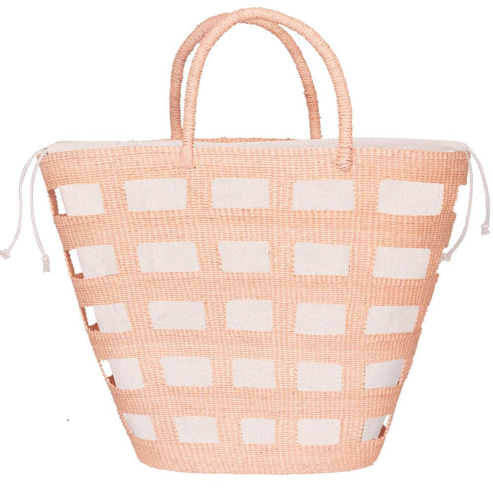 Paros Large Straw Vented Tote Bag Coral