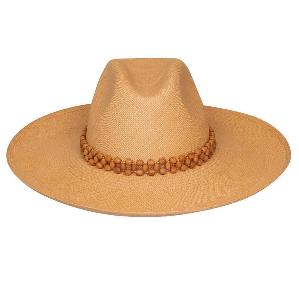 Peoni Clasico Wide Brim Hat Cinnamon With Salmon Tagua Beads