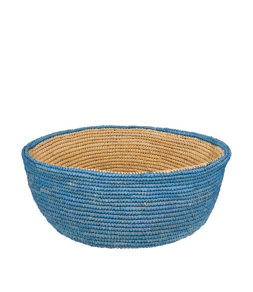 Artesano Two-tone Basket Tote Sand & Aqua