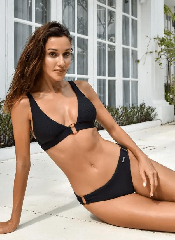 Lara Shell Trim Bikini Top Nero