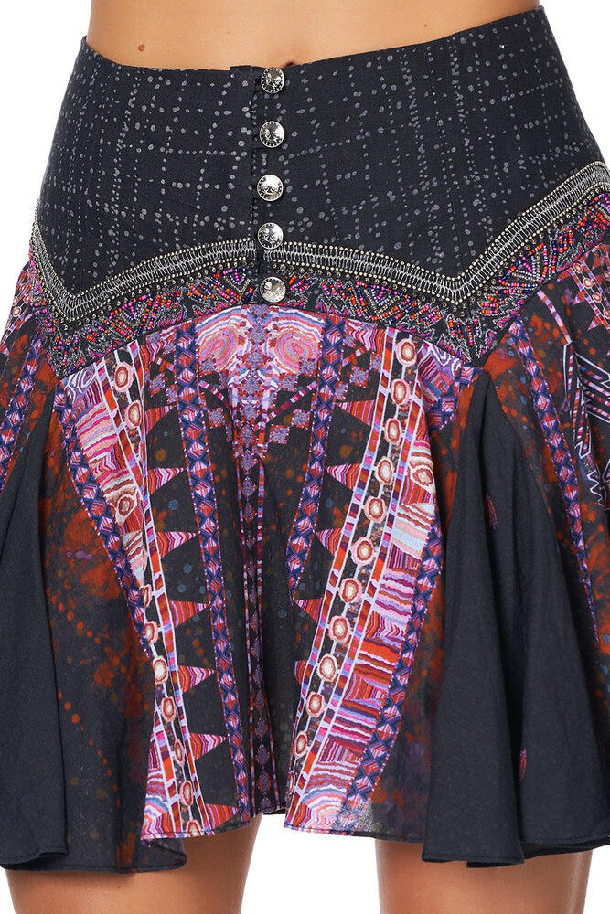 Mini Skirt With Shaped Yoke