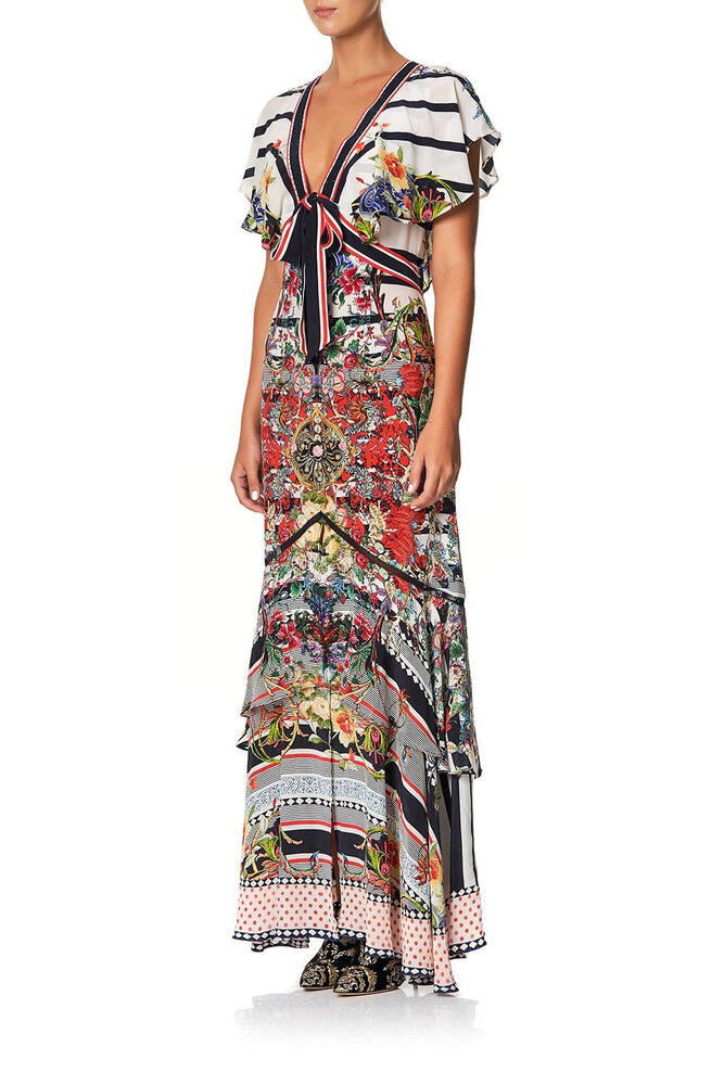 Tie Front Maxi Dress With Split Joie De Vivre