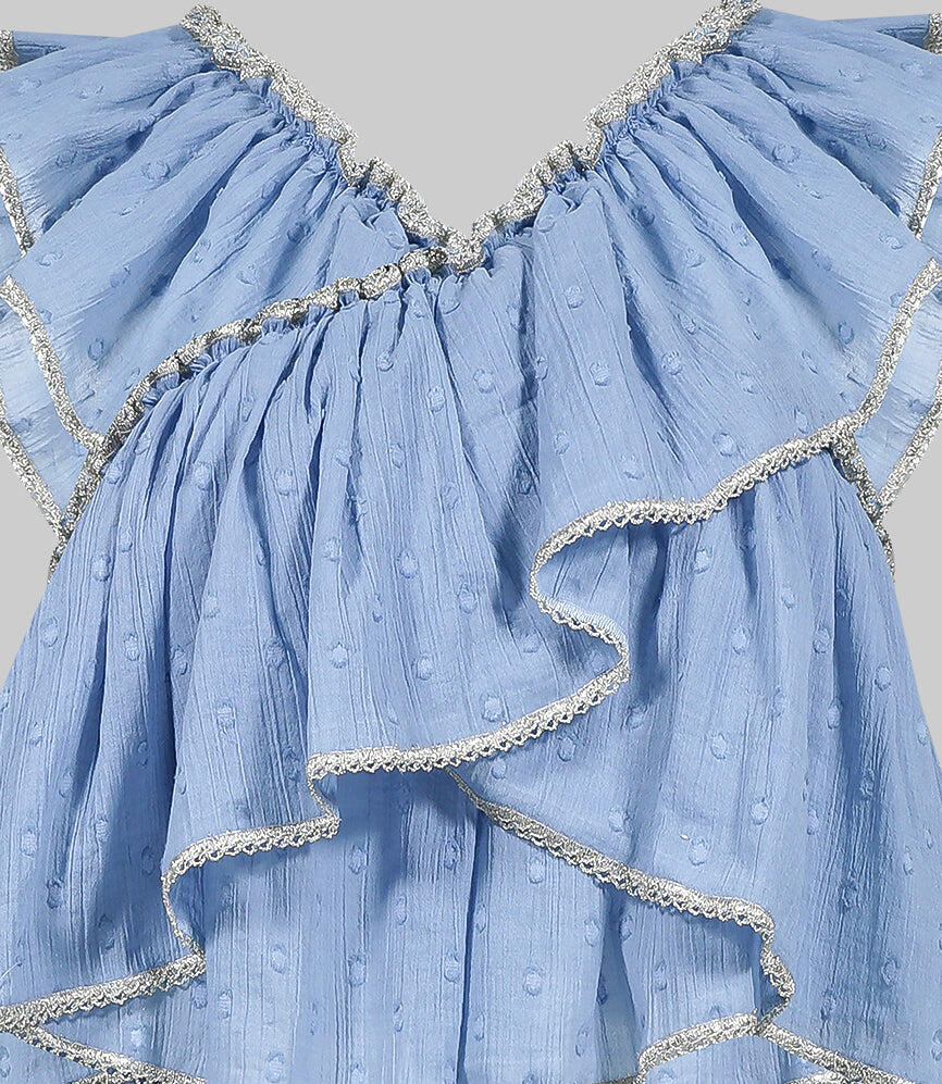 Blue Criss Cross Embroidered Top with Lurex Silver Finishing