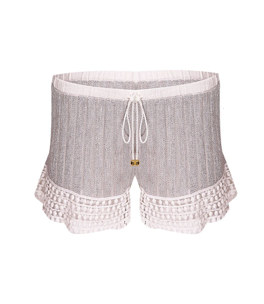 CHIO Silver Lurex Knit Shorts with Lace Detail
