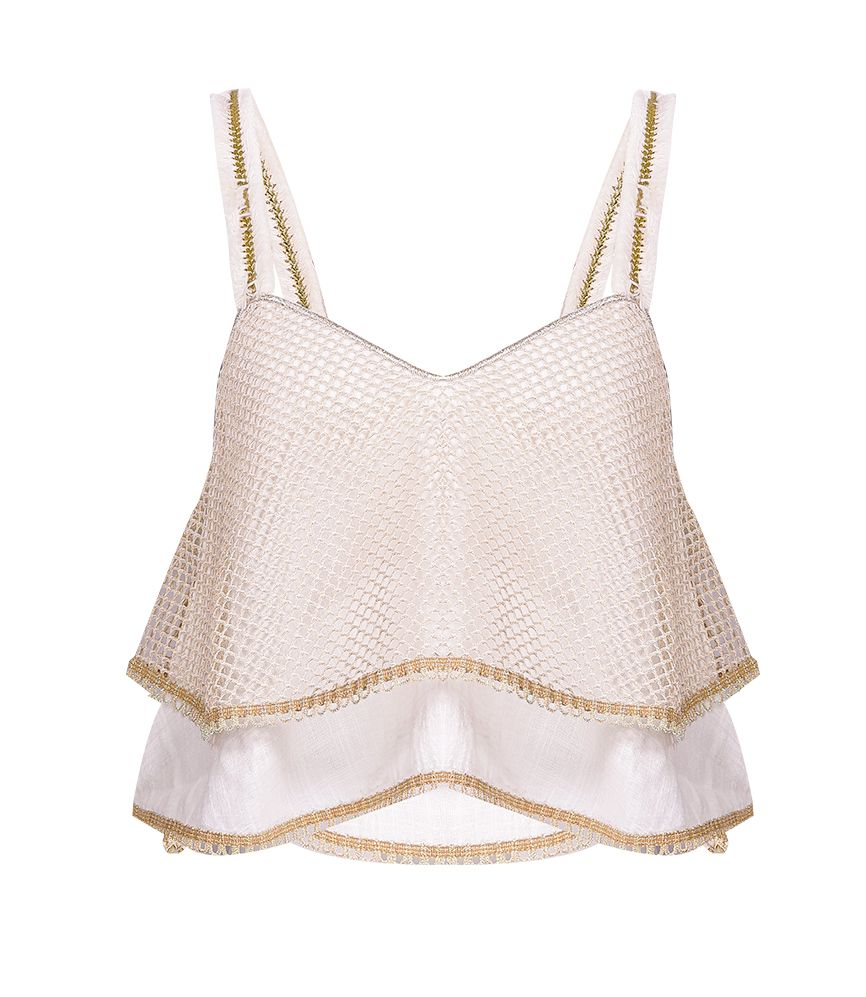 CHIO Mesh & Cotton Top with Fringe Straps