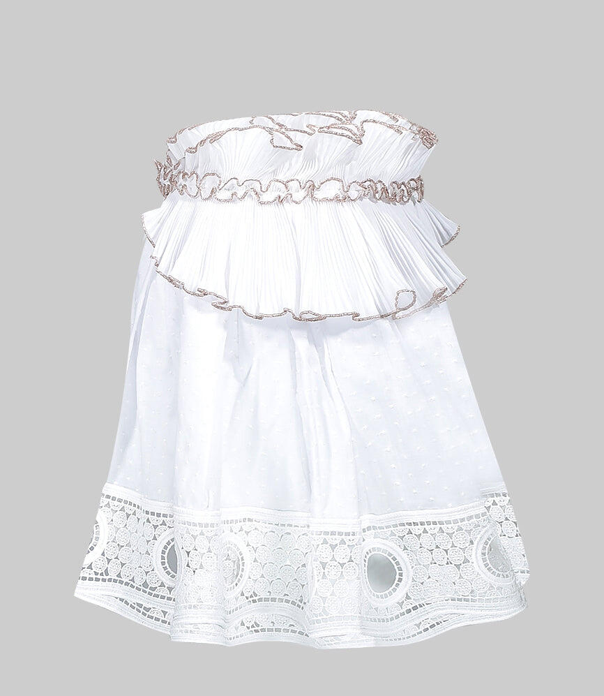Mini Skirt with Plisse and Macrame