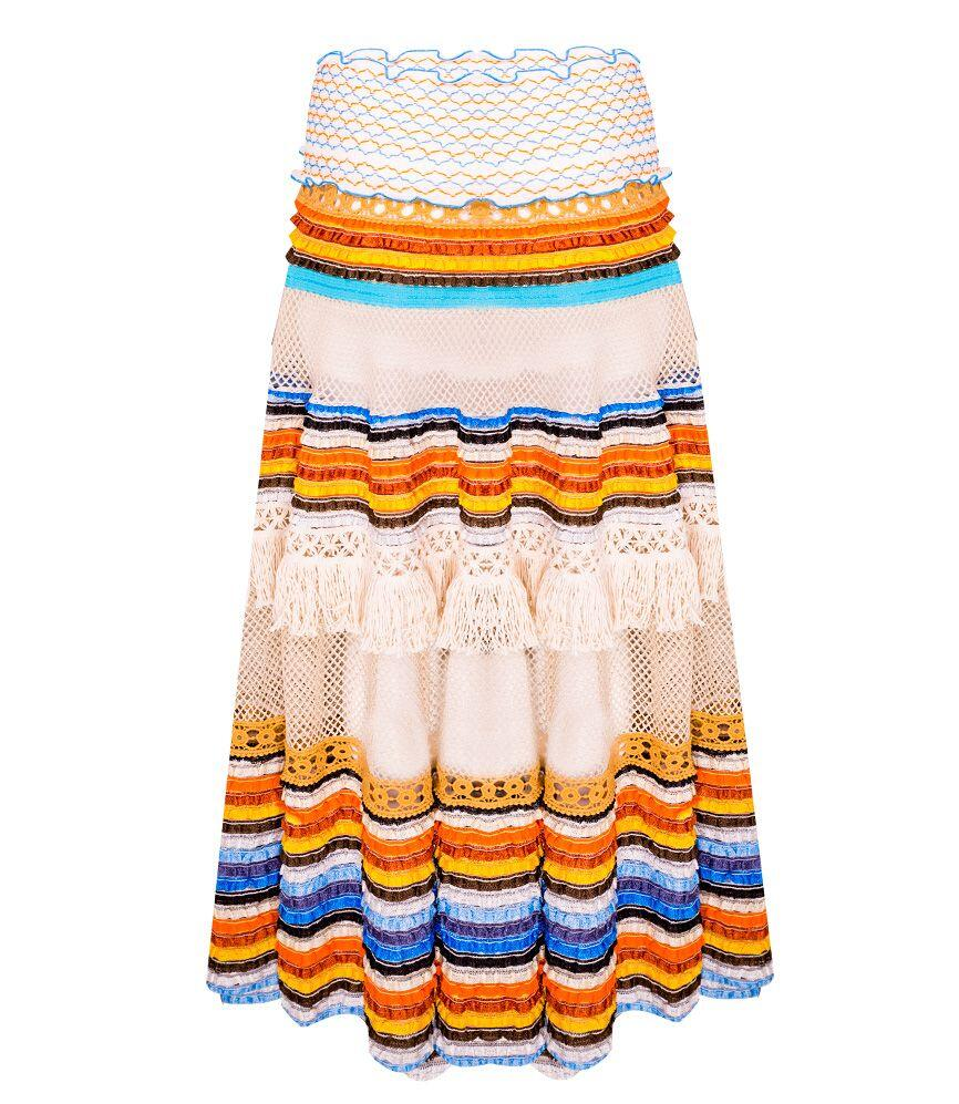 CHIO Printed Dress With Striped Lurex Ruffle