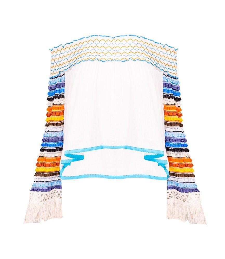 CHIO Off The Shoulder Top with Knit Sleeves & Fringe Detail