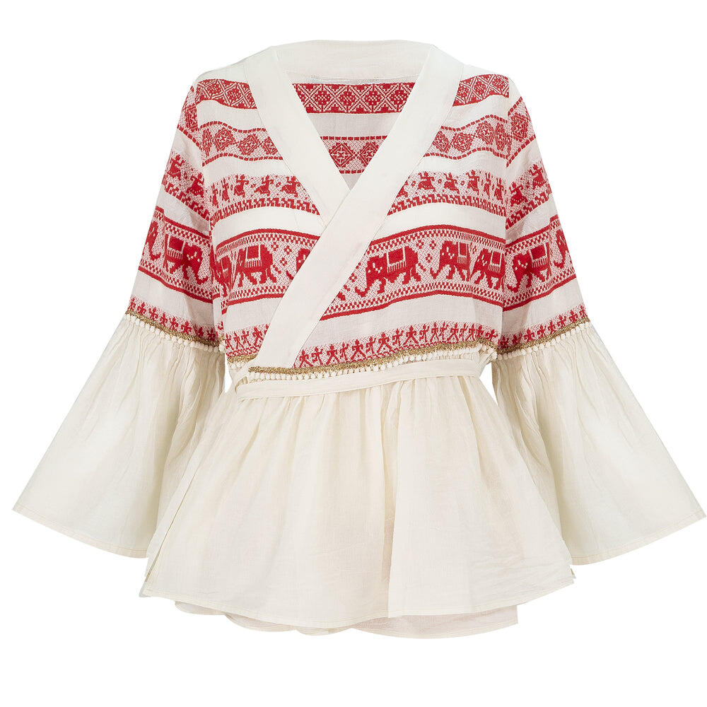 Dioni Embroidery Blouse Off White/Red