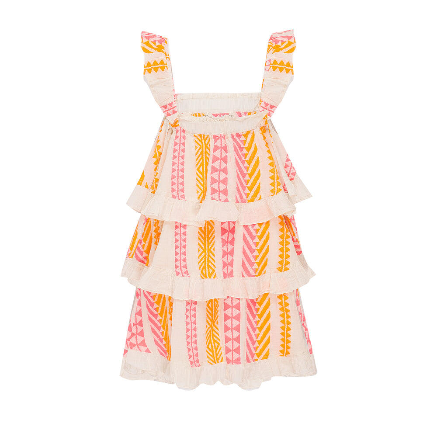 Kids Jasmine Short Dress Sleeveless Neon Orange/Neon Pink