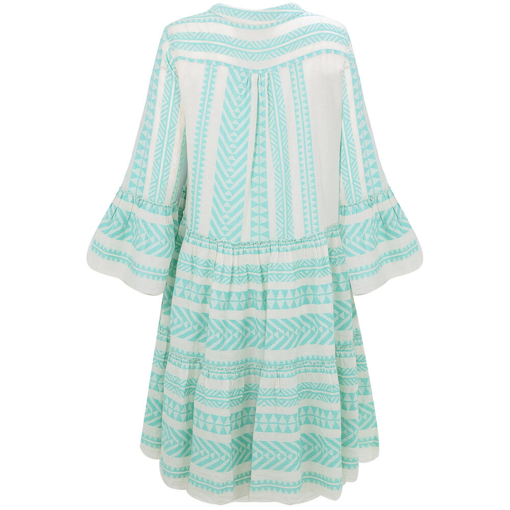 Short Midi Dress with Embroidery Mint