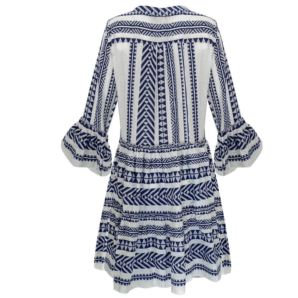 Short Midi Dress with Embroidery Navy Blue