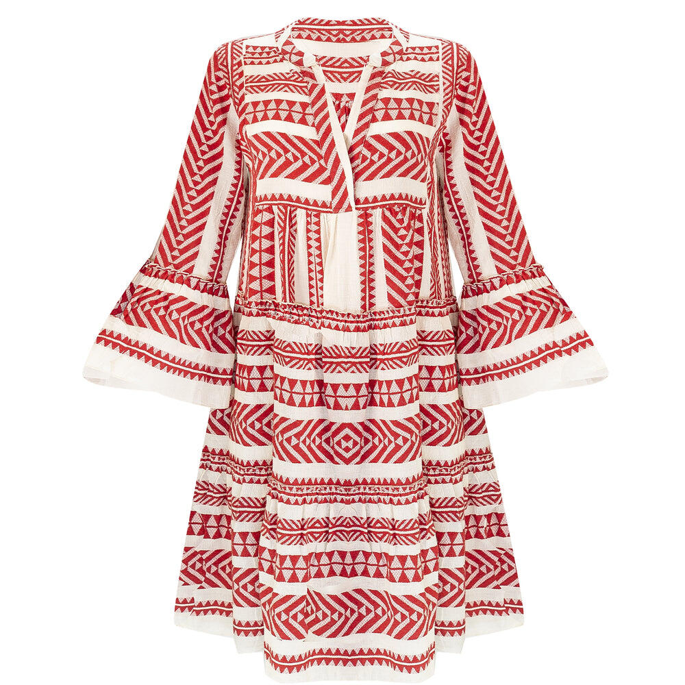 Short Midi Dress with Embroidery Red