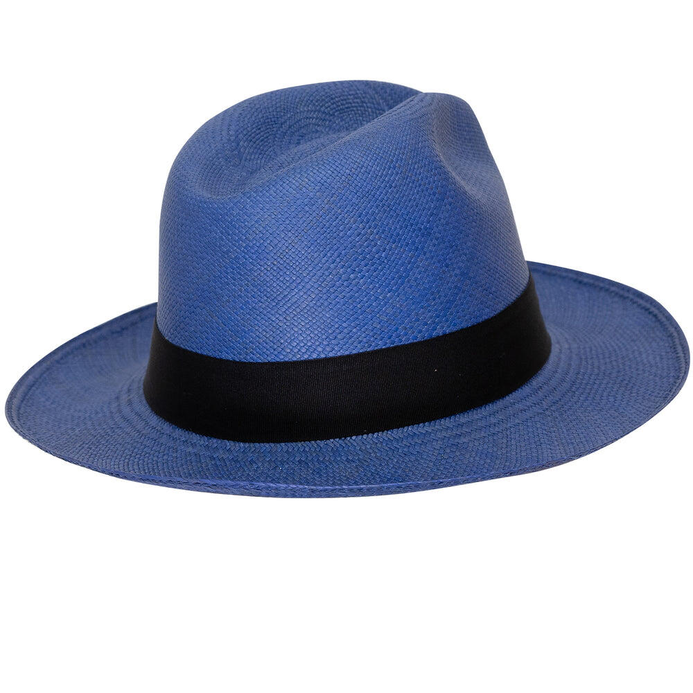 Panama Hat Classic Electric Blue with Black Band