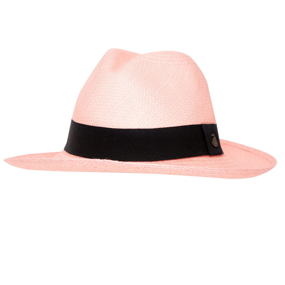 Panama Hat Unisex Classic Pink with Black Band