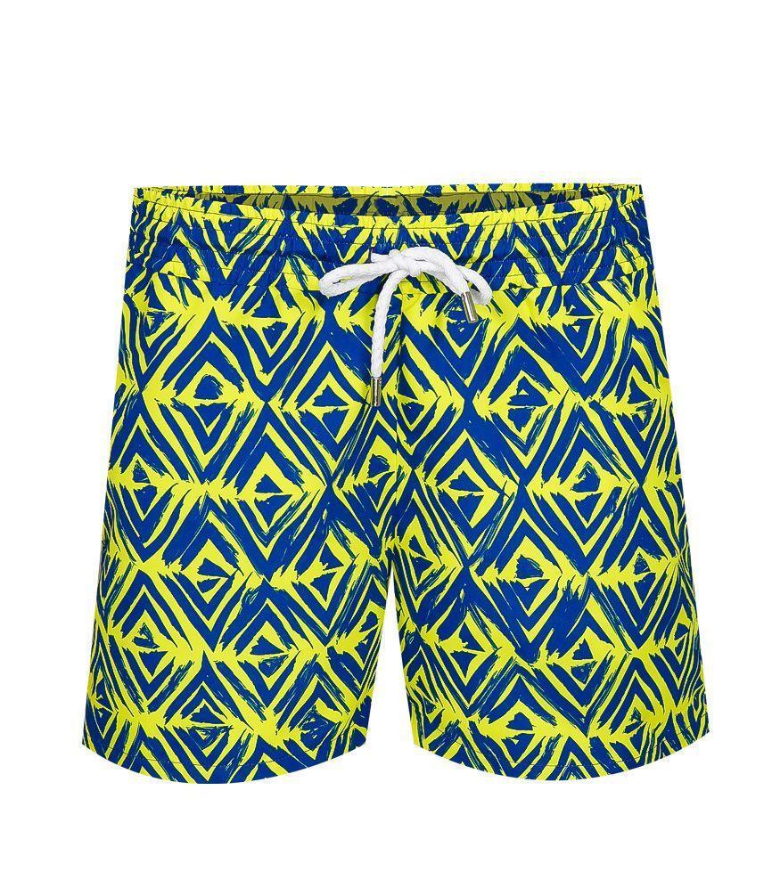 Mens Designer Swim Trunks in Yellow