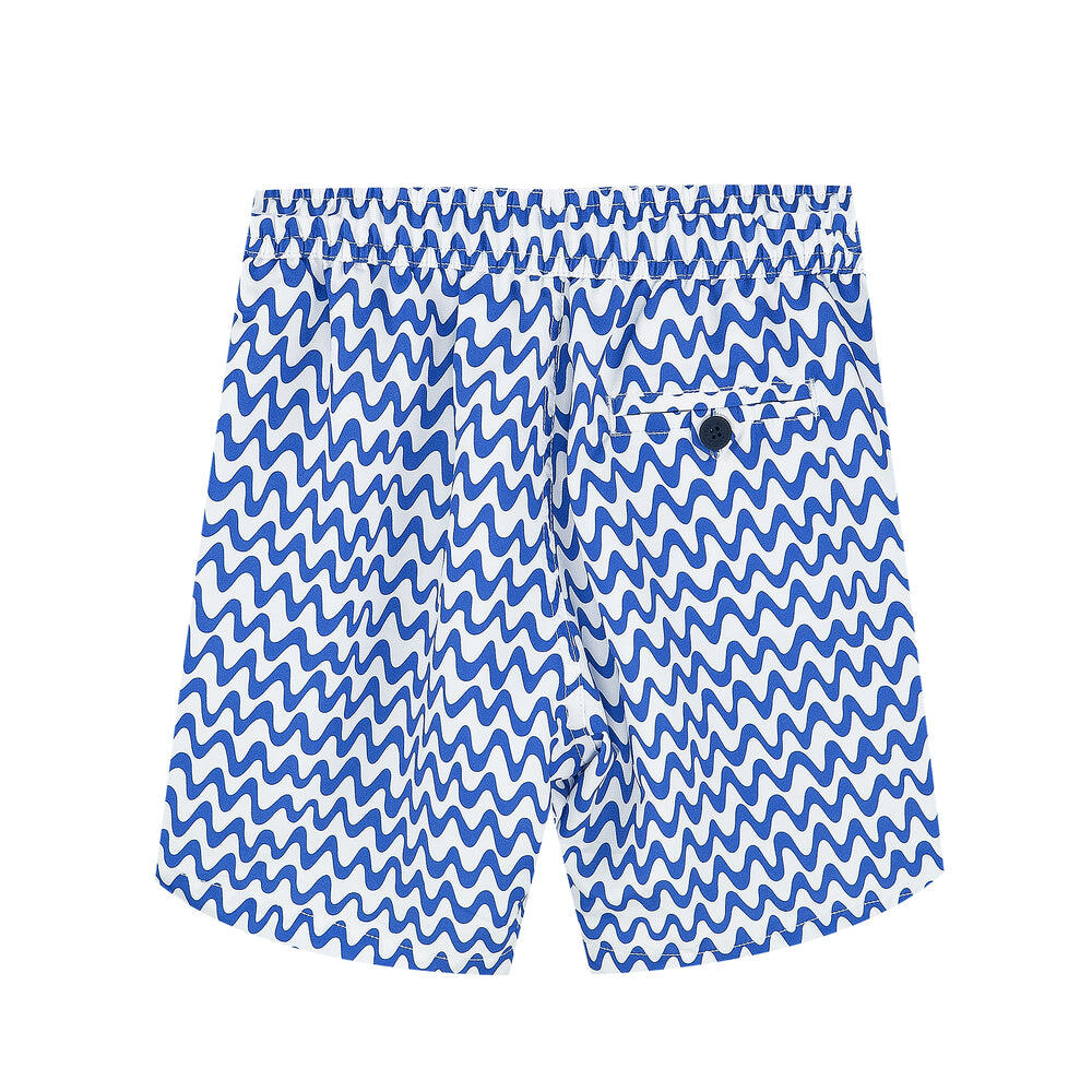 blue and white striped swim shorts for boys