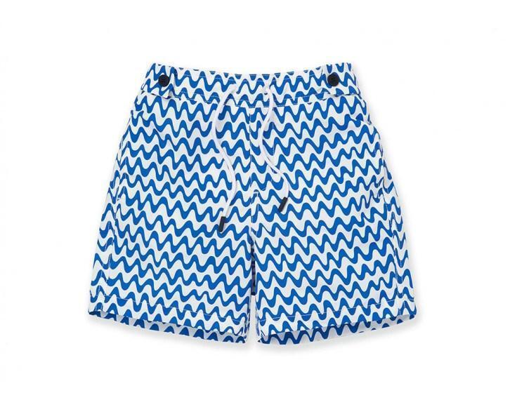 Boys Blue Striped Swim Shorts