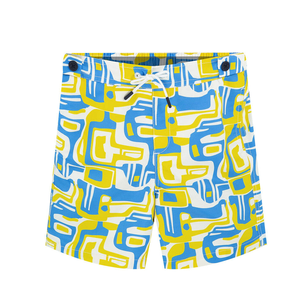 funky boys swimsuit in yellow | cool swim trunks for boys
