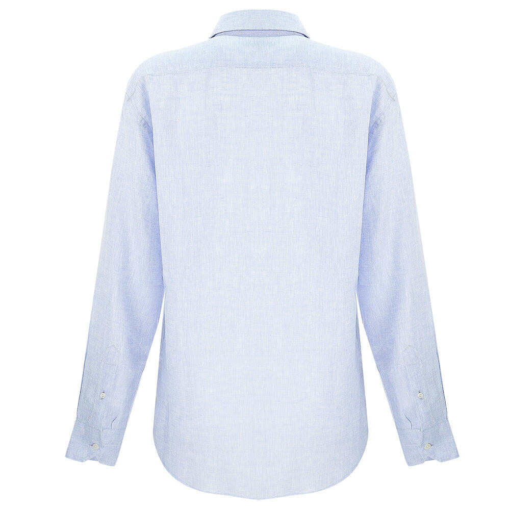 long sleeve linen shirt in light blue
