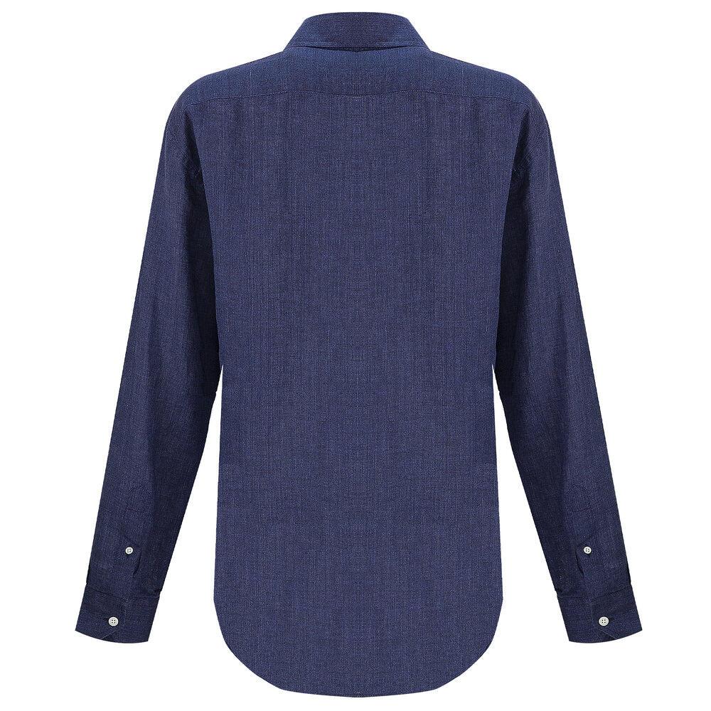 100% linen shirt for men in dark blue