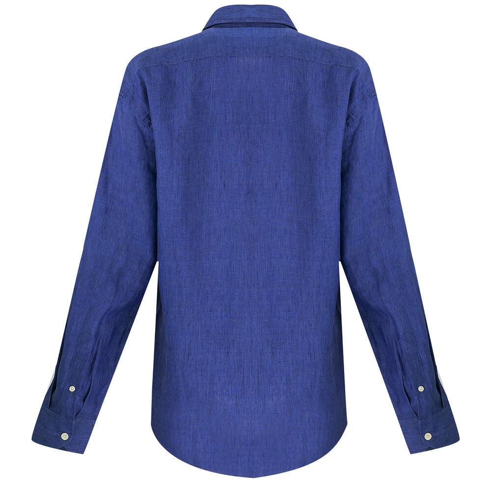 Premium Linen Shirt in Navy Blue
