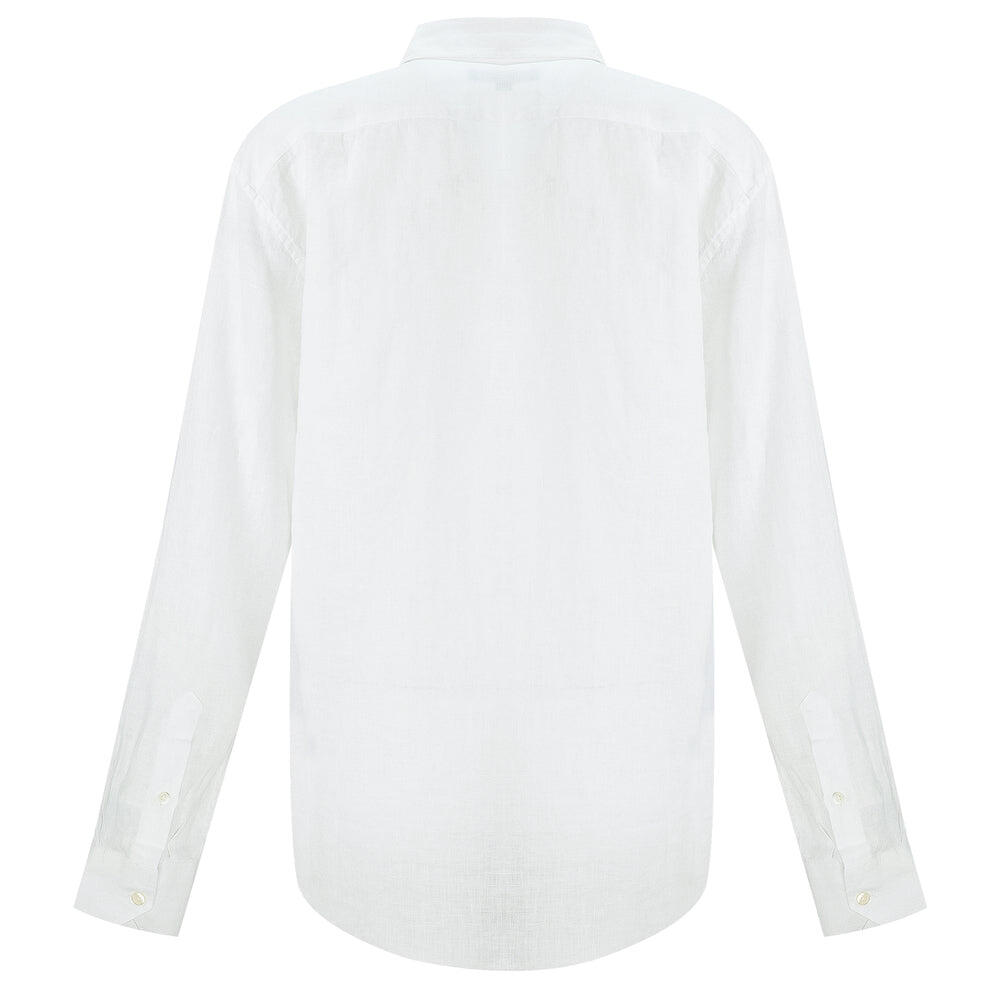 white button up linen shirt