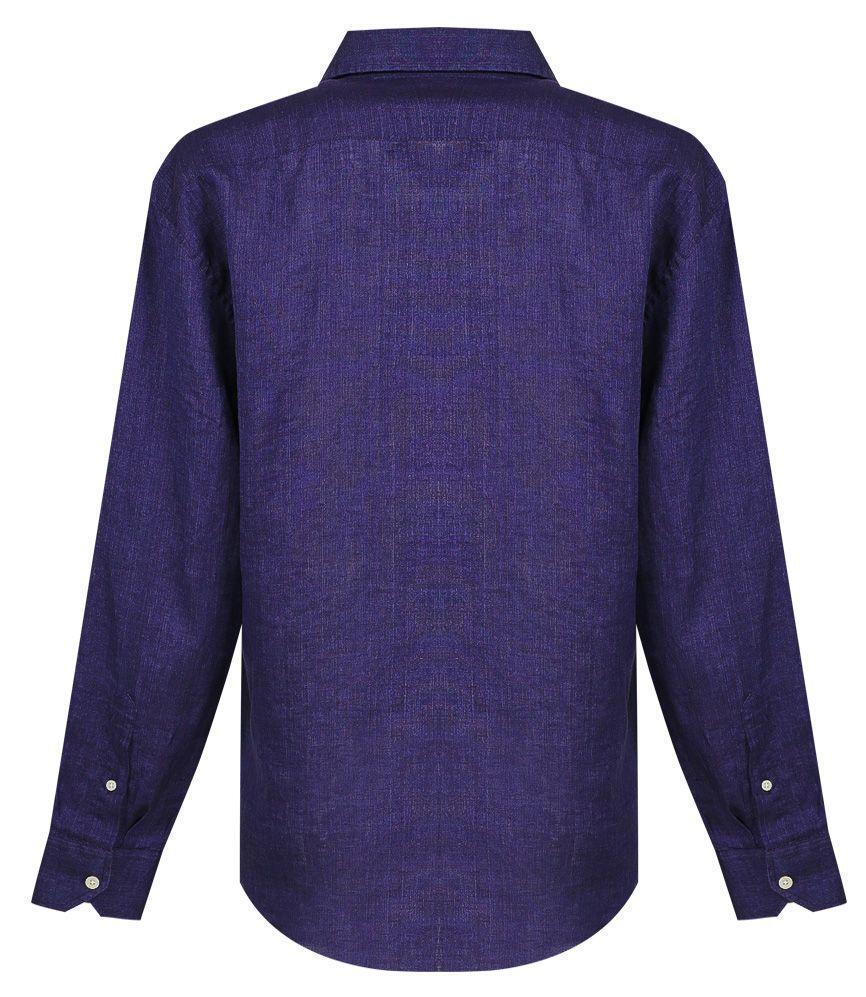 Dark Blue Linen Dress Shirt